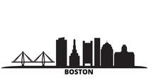 United States, Boston City City Skyline Isolated Vector Illustration. United States, Boston City Travel Cityscape With Landmarks