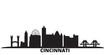 United States, Cincinnati city skyline isolated vector illustration. United States, Cincinnati travel cityscape with landmarks