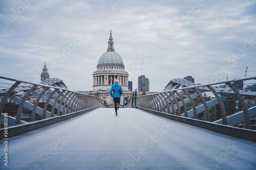 Running in London, Morning run at Millennium Footbridge over the Thames Wallpaper Mural