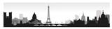 Fototapeta Fototapety Paryż - Panorama of Paris flat style vector illustration. Cartoon Paris architecture symbols and objects. Paris city skyline vector background. Flat trendy illustration