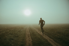 Morning Run In Misty Dark Nature, Active Life Concept Photo, Edit Space