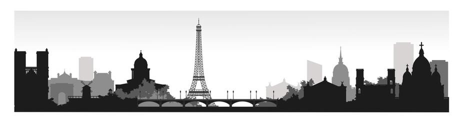 Panorama of Paris flat style vector illustration. Cartoon Paris architecture ...