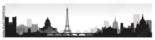 Panorama of Paris flat style vector illustration. Cartoon Paris architecture symbols and objects. Paris city skyline vector background. Flat trendy illustration - 306183362