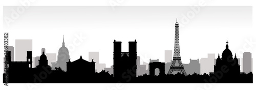 Panorama of Paris flat style vector illustration. Cartoon Paris architecture symbols and objects. Paris city skyline vector background. Flat trendy illustration - 306183382