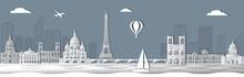 Panorama Of Paris Paper Cut Style Vector Illustration. Cartoon Paris Architecture Symbols And Objects. Paris Sepia City Skyline Vector Background. Flat Trendy Illustration.