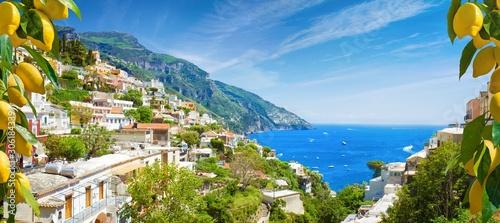 Recess Fitting Mediterranean Europe Beautiful Positano and clear blue sea on Amalfi Coast in Campania, Italy. Amalfi coast is popular travel and holyday destination in Europe.