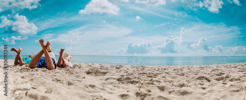 father with son and daughter relax on beach vacation, panorama - 306185344
