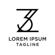 Initial Letter Logo 3Z, Z3 Logo Template