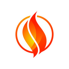 Flame Logo Design. Fire Icon, Oil And Gas Industry Symbol Isolated On White Background