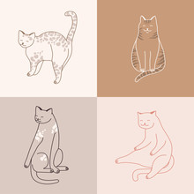 Vector Linear Illustration Set Of Adorable Catsn In Different Poses Sleeping, Stretching Itself, Playing. Cats Breeds.