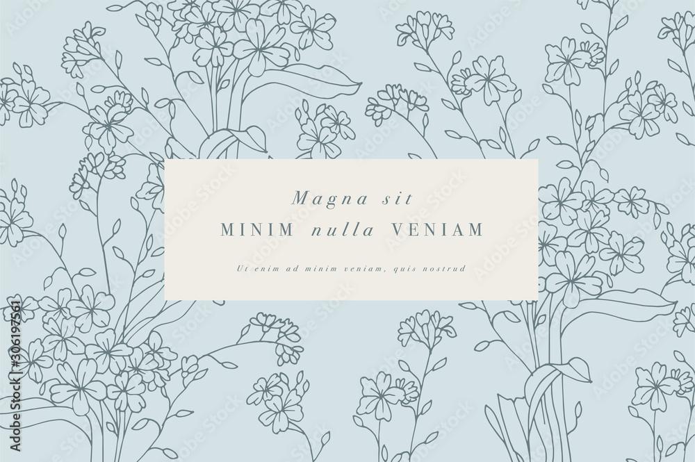 Fototapeta Vintage card with forget me not flowers. Floral wreath. Flower frame for flowershop with label designs.