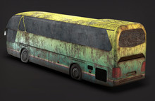 3d Illustration Abandoned Bus Rusty On Th Background