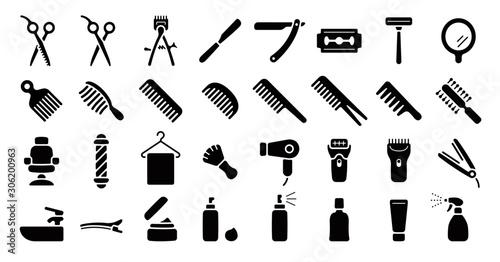 Barber Shop Icon Set (Flat Silhouette Version)