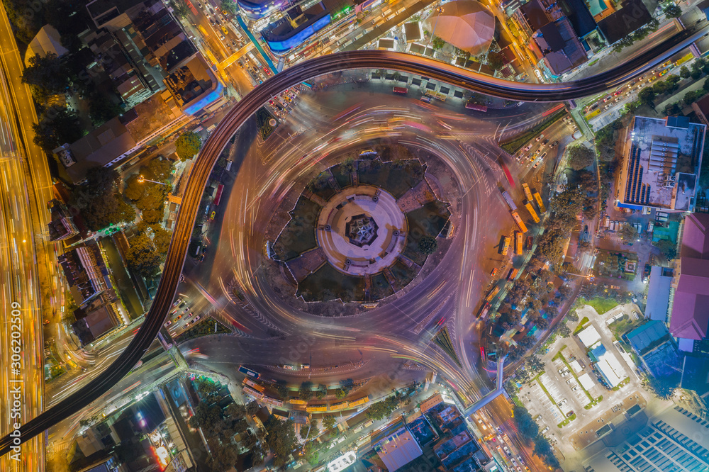 Beautiful Roundabout Victory Monument Aerial Top view Thailand with long exposure cars traffic