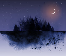 Dark Wild Forest And Night Sky Background With Stars And Crescent Moon. Traditional Oriental Ink Painting Sumi-e, U-sin, Go-hua.