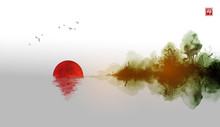 Misty Island With Red Sun, Dark Forest Trees Reflecting In Water And Birds In The Sky. Traditional Oriental Ink Painting Sumi-e, U-sin, Go-hua On Vintage Rice Paper Background. Hieroglyph - Zen
