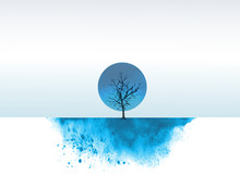 Ink Wash Painting With One Blue Tree In Winter Snow Field. Traditional Oriental Ink Painting Sumi-e, U-sin, Go-hua.