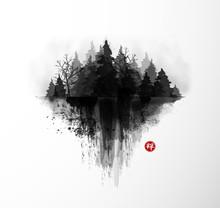 Ink Wash Painting With Dark Mi...