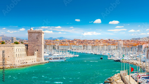 Obraz Saint Jean Castle and Cathedral de la Major and the Vieux port in Marseille, France - fototapety do salonu