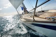Sloop-rigged Modern Yacht With...