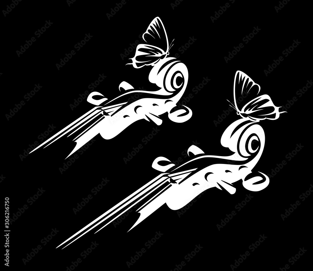 violin neck and sitting butterfly - classical string instrument black and white vector silhouette design set