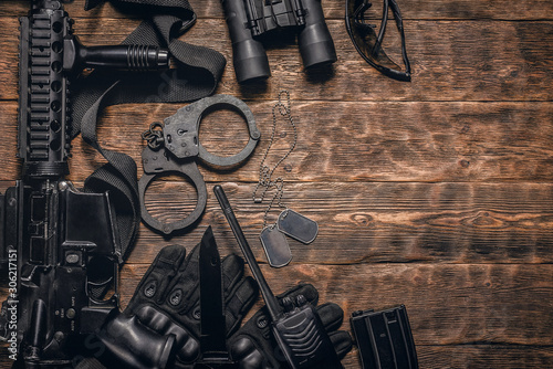 Obraz na plátně Military equipment or special agent gear concept flat lay background with copy space