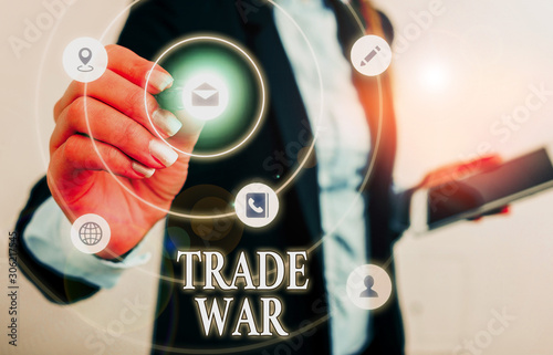 Photo  Text sign showing Trade War