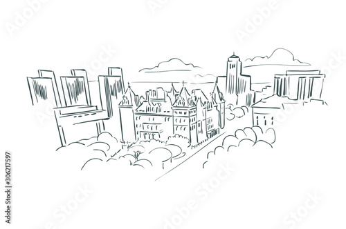 Albany New York usa America vector sketch city illustration line art Slika na platnu