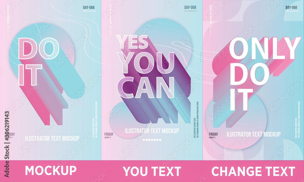 set of trendy colorful poster Illustrator Mockup full editable text <span>plik: #306219143 | autor: Ahmet Aglamaz</span>