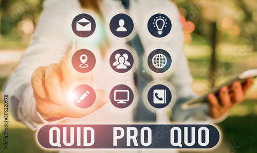 Text sign showing Quid Pro Quo Canvas Print