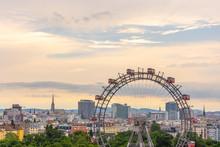 Beautiful View Of  Evening Vienna With Big Ferris Wheel