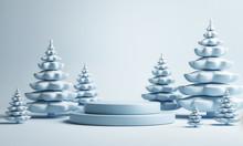 Mock Up Podium With Blue Pine Tree For Product Presentation, 3d Render, 3d Illustration