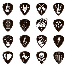 Collection Of Different Black Guitar Picks Isolated On White Background