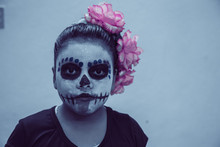 Puebla, Mexico - November 1st, 2019: Catrina Painted Girl For Day Of The Dead Parade