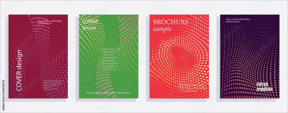 Fototapeta Minimalistic cover design templates. Set of layouts for covers of books, albums, notebooks, reports, magazines. Line halftone gradient effect, flat modern abstract design. Geometric mock-up texture.