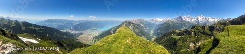 hiking trail panorama in the swiss mountains in interlaken, switzerland - 306229339