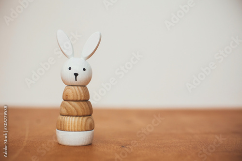 Stampa su Tela Stylish wooden toy for child on wooden table