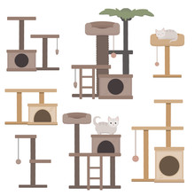 Vector Set Of Cat Towers Illus...