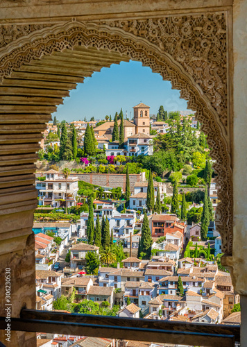 The picturesque Albaicin district in Granada as seen from the Alhambra Palace Fototapet