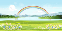Panorama View Of Spring Village With Green Meadow On Hills With Blue Sky And Rainbow After Rain,Vector Cartoon Spring Or Summer Landscape, Panorama Countryside Mountains And Lake With  Flowers Fields