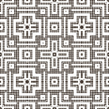 Textured Black And White Houndstooth Seamless Pattern. Vector Ornamental  Background. Modern Hounds Tooth Ornaments. Geometric Design With Crosses, Squares, Stripes, Shapes. Repeat Ornate Texture