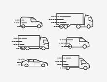 Transportation Icon Set. Transport, Delivery Symbol. Vector Illustration
