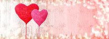 Valentines Day Background Panorama Banner Long -  Two Red Hearts Balloons And Bokeh Lights On Rustic Bright Wooden Texture