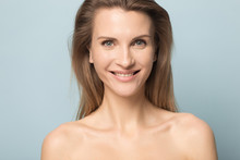 Head Shot Portrait Beautiful Smiling Woman With Perfect Skin