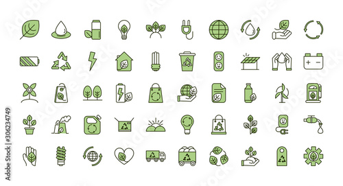 environment ecology icons collection line and fill Poster Mural XXL