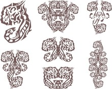 Abstract Dangerous Snake And Tiger Head Symbols. Tribal Snake And Tiger Symbol Created Other Ornamental Elements For Your Design