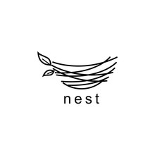 Nest Illustration Logo Design ...
