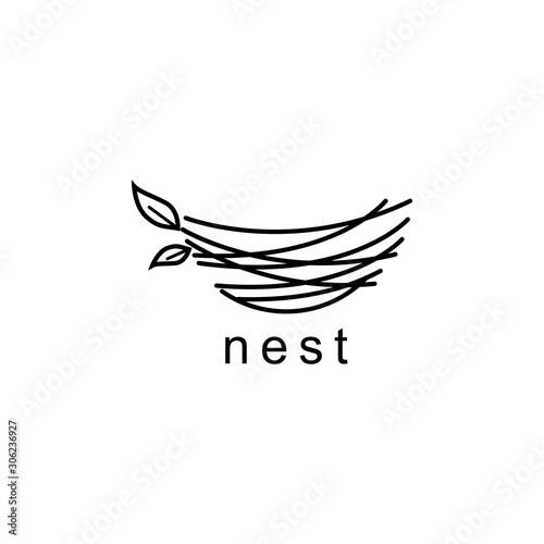 Fototapeta nest illustration logo design symbol vector template obraz