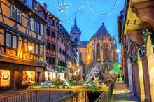 Colmar City, Alsace, France, Illuminated For Christmas