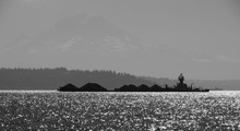 Tug Pushing Barge In Puget Sound With Mount Rainier In Background